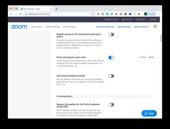 Zoom setup web interface